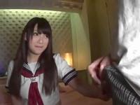 制服がはちきれんばかりのHカップ巨乳のロリ顔JKと濃密パコ!