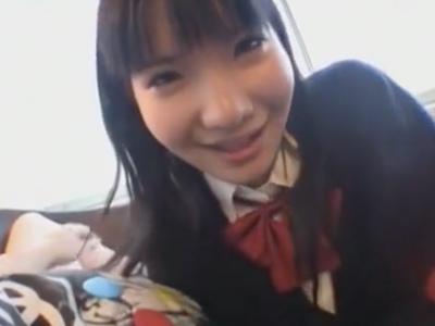 「いっぱい白いの出して♪」美少女JKの主観手コキ&フェラ奉仕であっけなくザーメン発射
