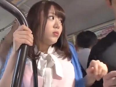 気の弱い巨乳娘が電車内で鬼畜男達に集団痴漢され悶絶!